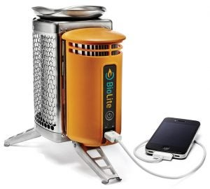 product image of biolite camp stove charging an iphone