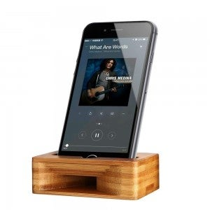 product image of bamboo amplifying dock holding a black iphone