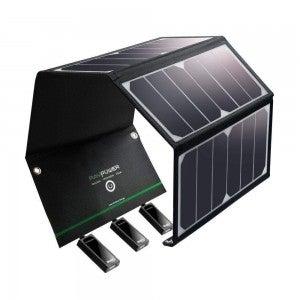 product image of rav solar panel with 3 usb ports against white background