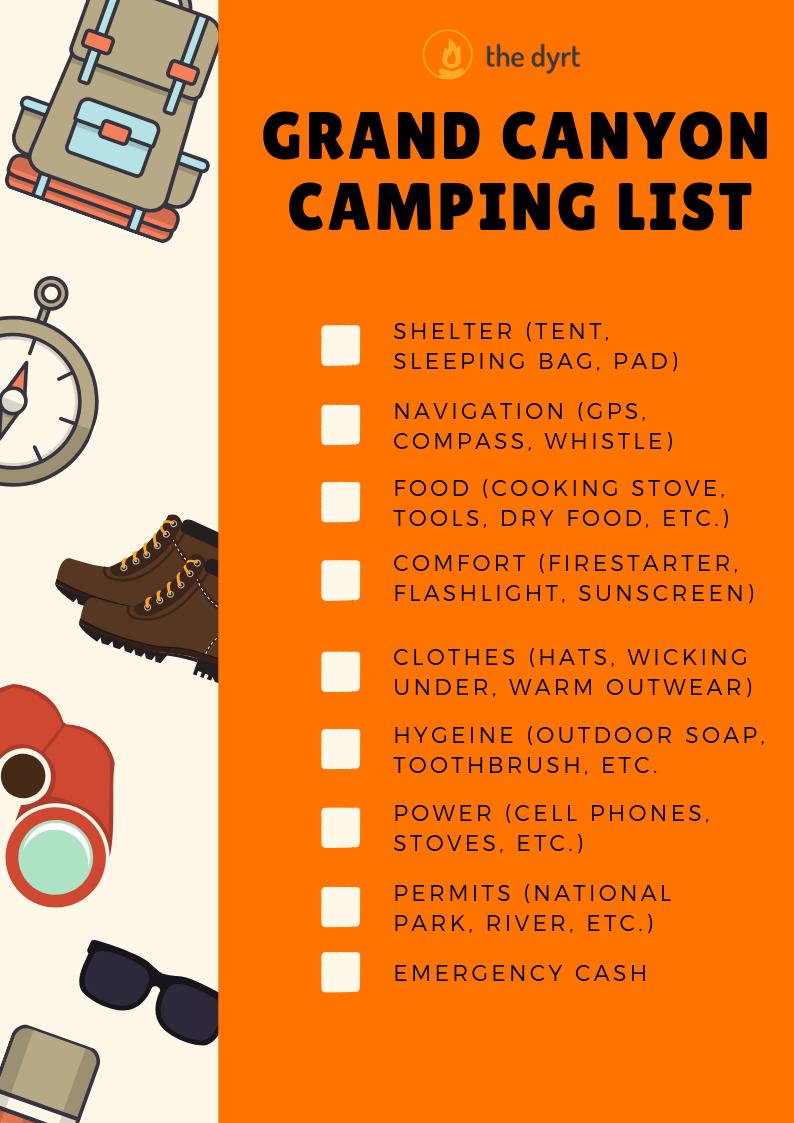 Grand Canyon Camping Checklist