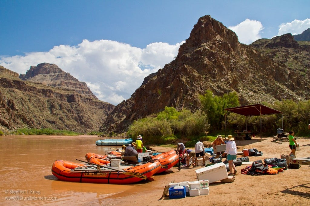 grand canyon camping raft pull out