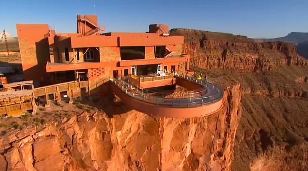 Aerial View of Grand Canyon Campers enjoying the Skywalk