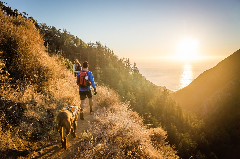 two people and a dog hiking