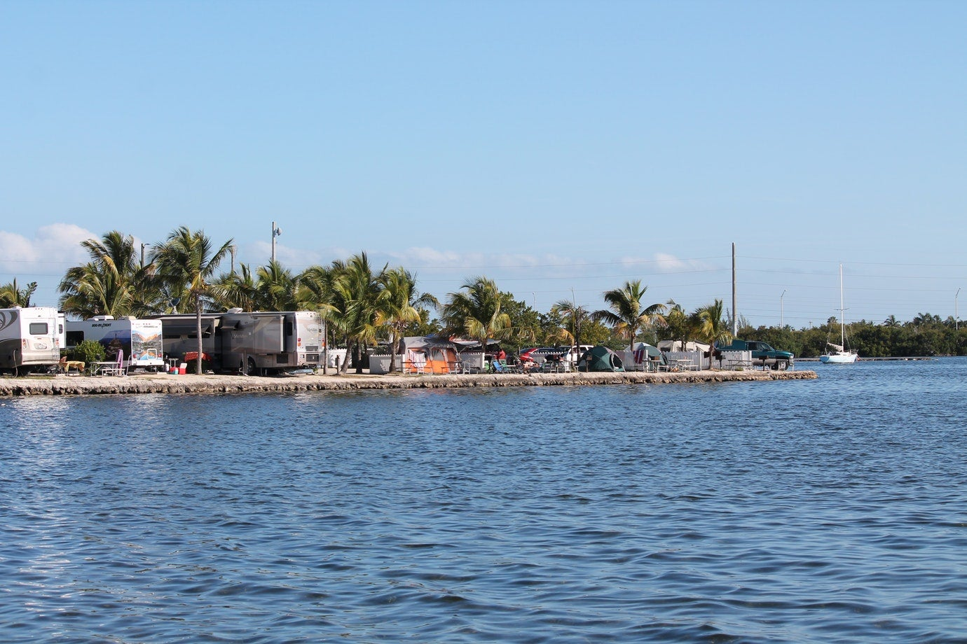 waterfront campsites visible from across the water at boyds key west campground