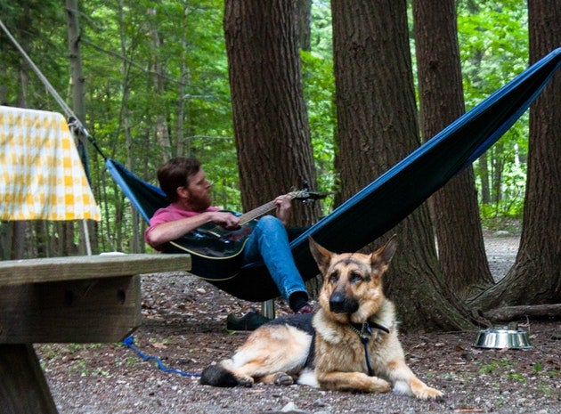 Camping with dogs in emerald lake