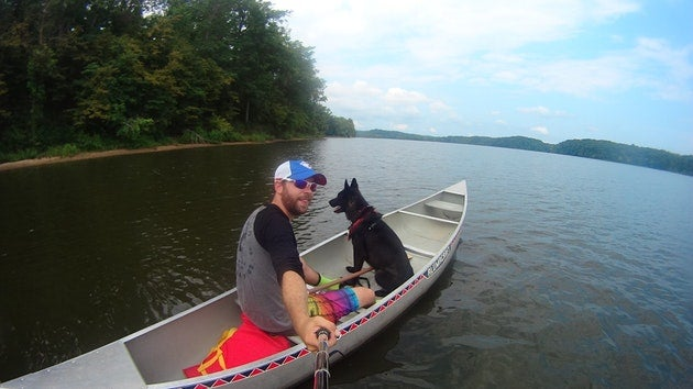 Camping with dogs in energy lake