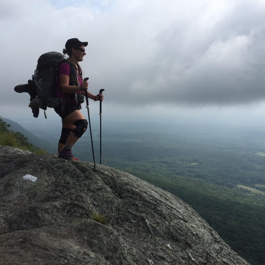 Shelly hiking with Gregory Maven