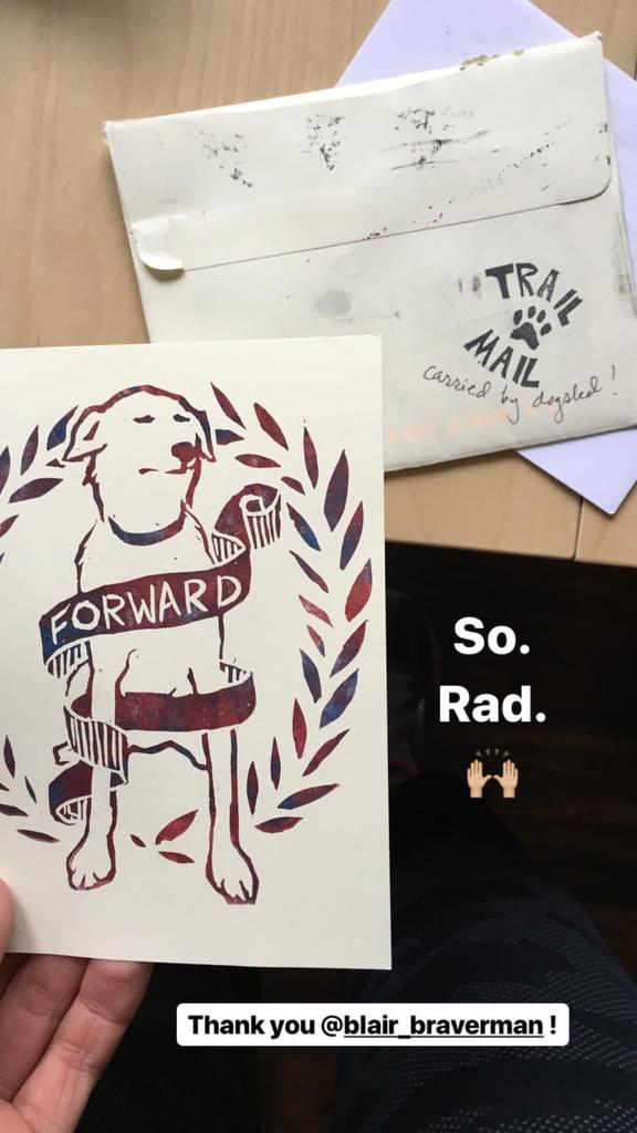 Dog sled mail arriving