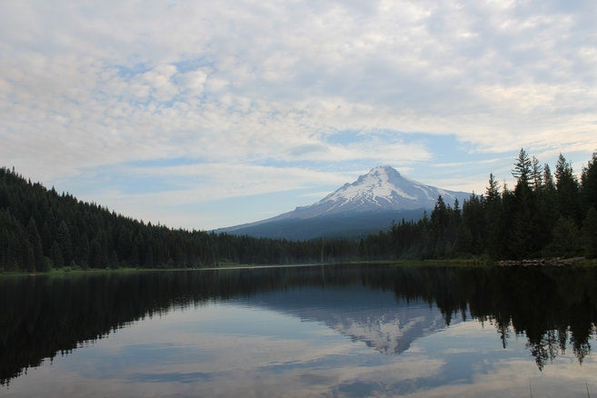 Trillium Lake campground's beauty is a dramatic improvement from the Oregon Trail's imagery.