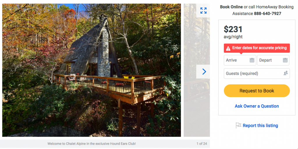 North Carolina a-frame cabin