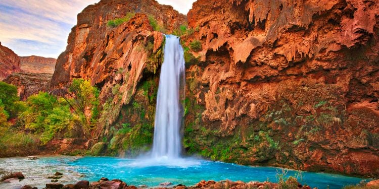 Scenic spring and falls seen while camping Havasu Falls