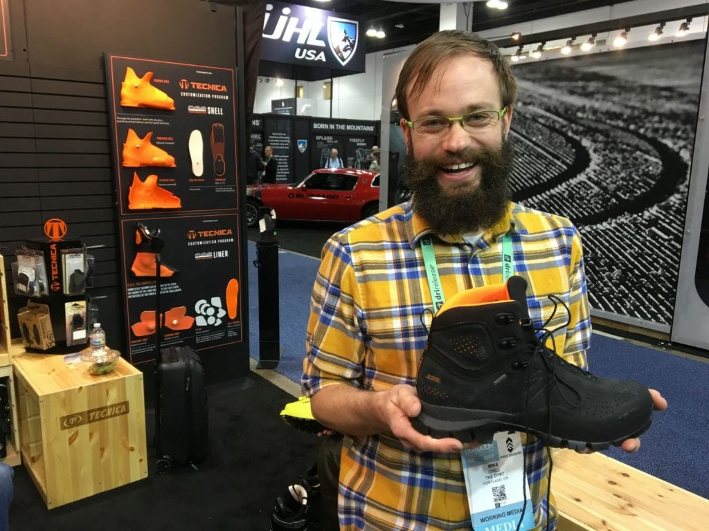 Mike posing with the Tecnica model at Outdoor Retailer.