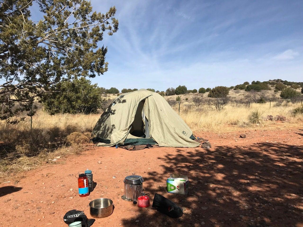 sedona camping in tent