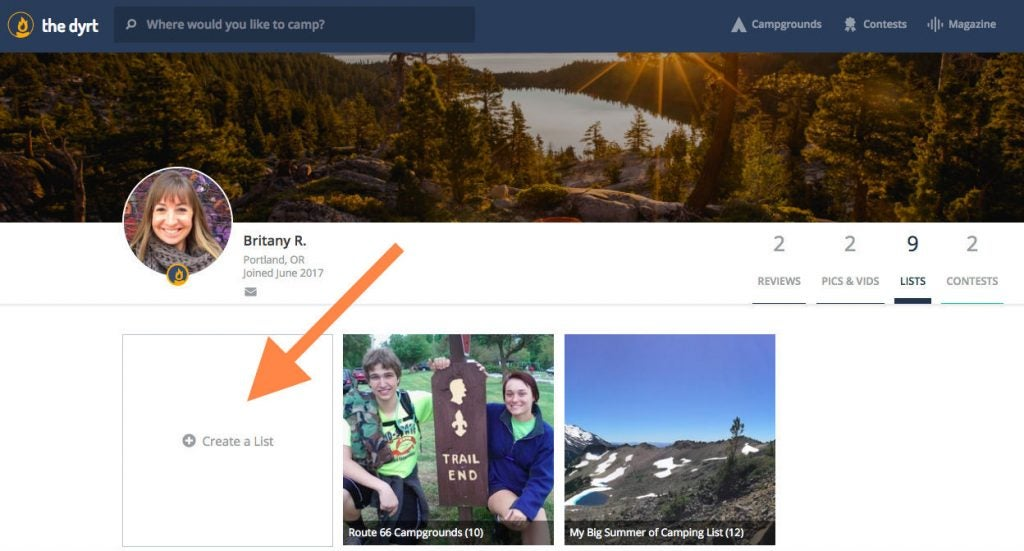 Britany is ready to add a new list of campgrounds to her profile.