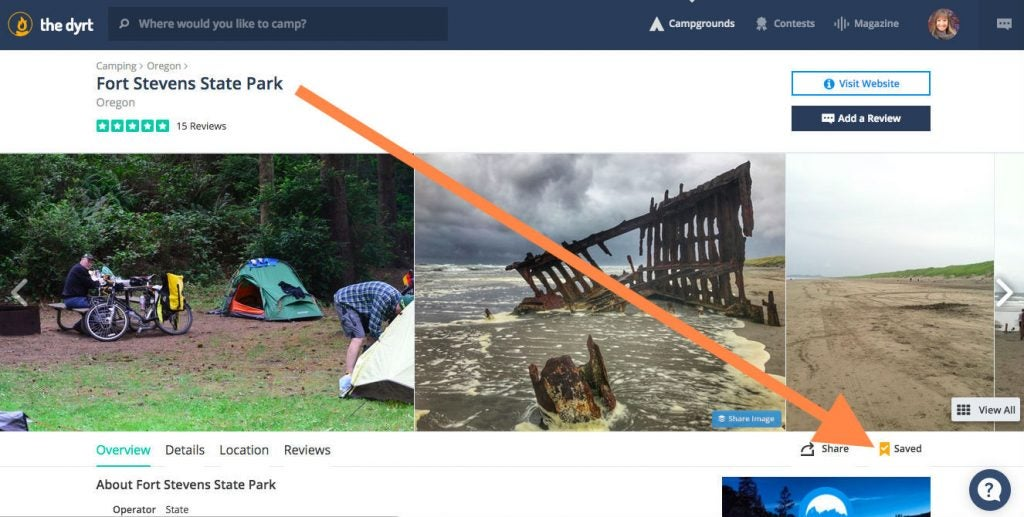 Step 3: Save your favorite spot to your list of campgrounds.