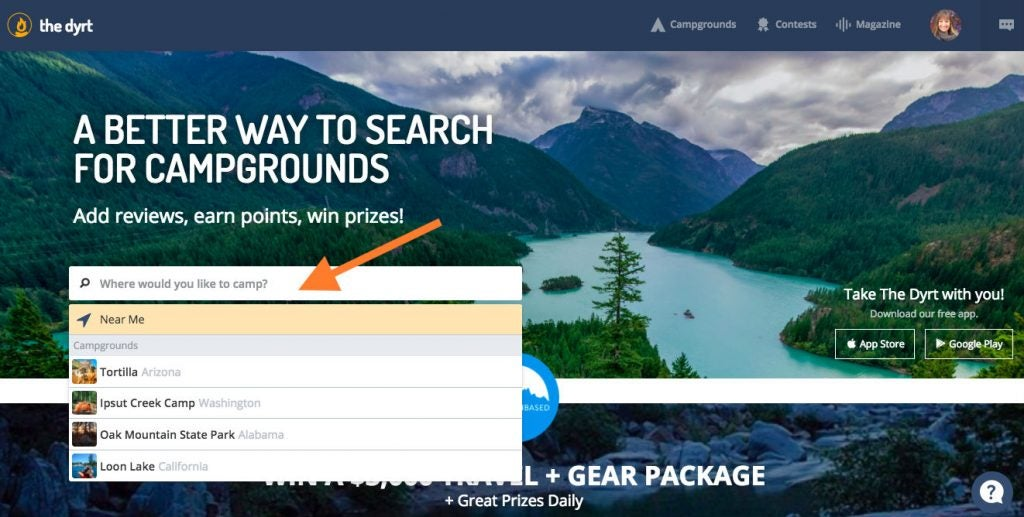 Step 1: Search for places to save to your list of campgrounds.