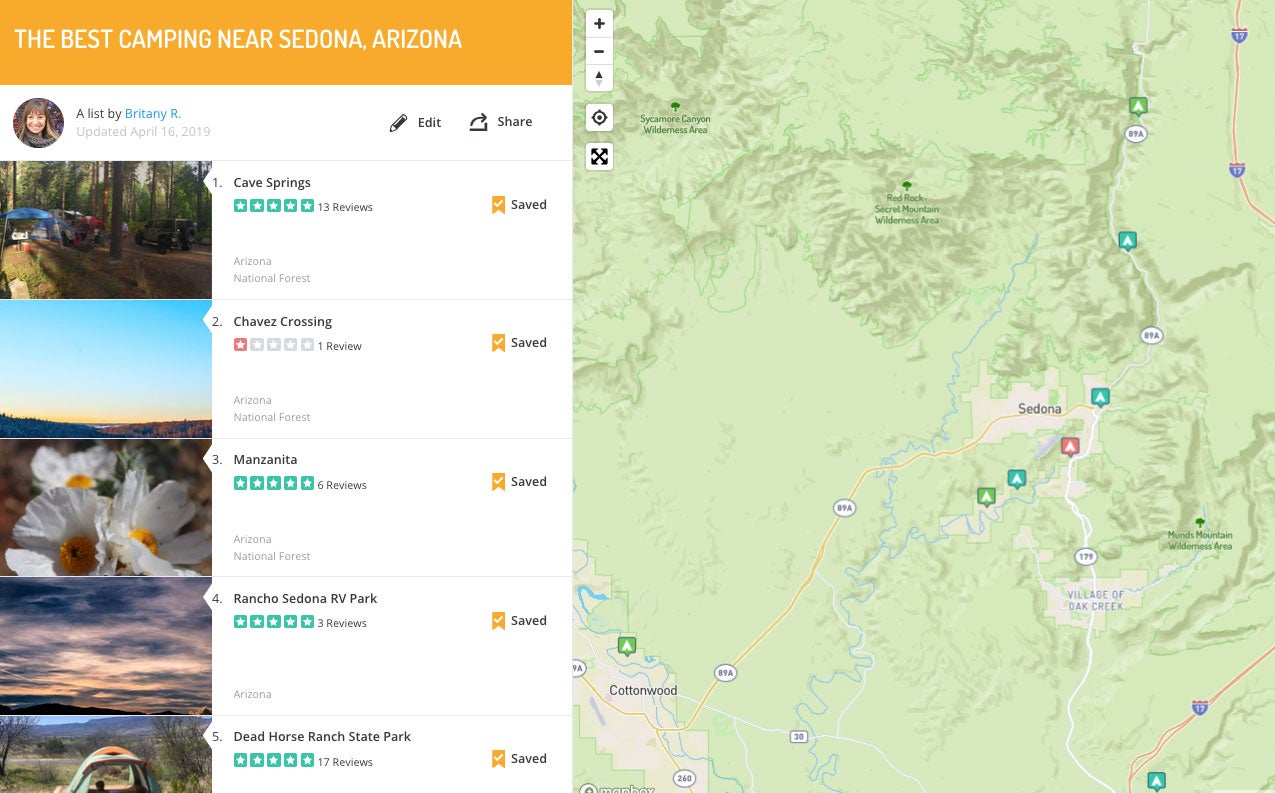 list and map of campgrounds in Sedona Arizona