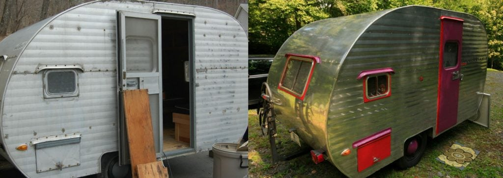 The full-time campers' before and after photos are a sight to behold!