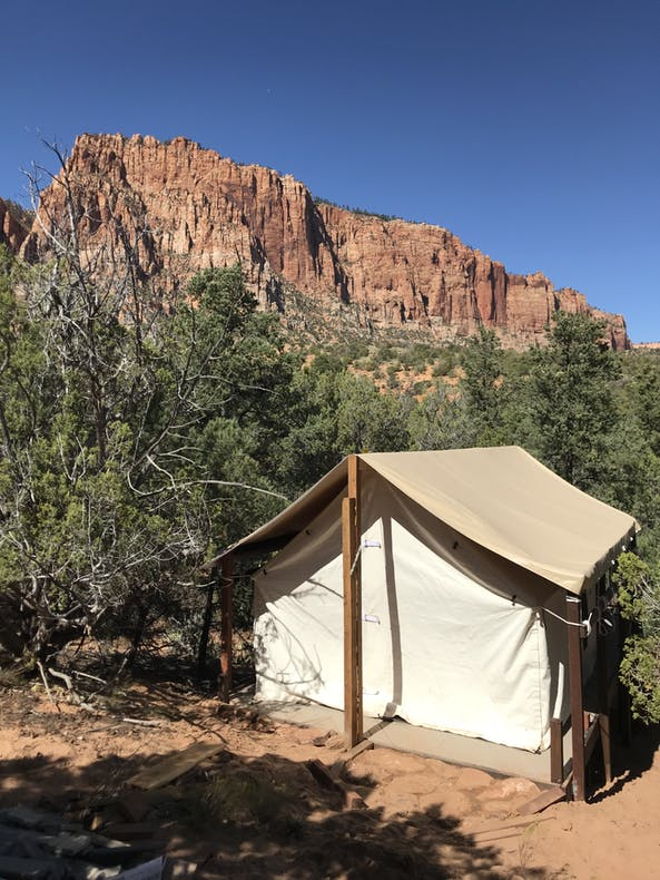 a canvas tent near zion national park