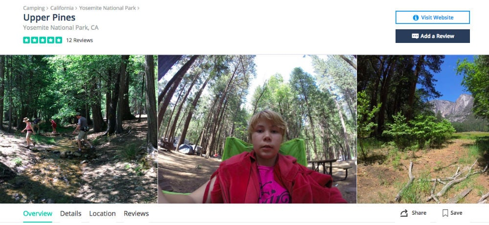 Screenshot of The Dyrt page of Upper Pines Campground