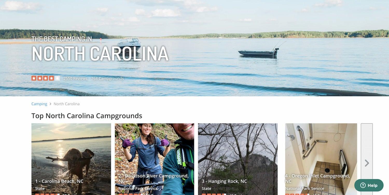 the dyrt's north carolina camping page