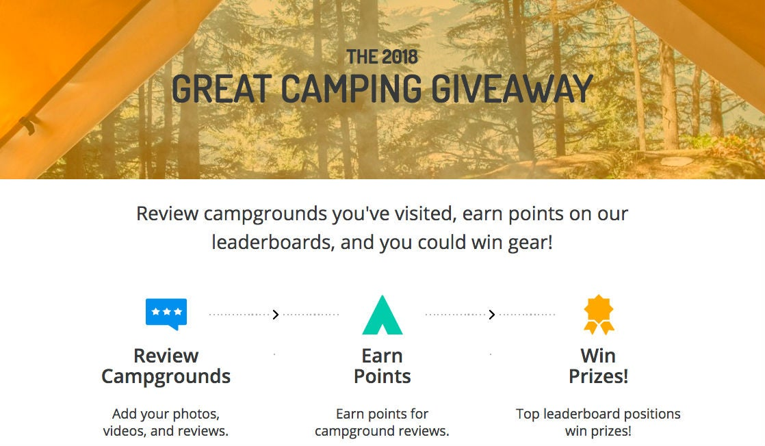 the dyrt's 2018 great camping giveaway