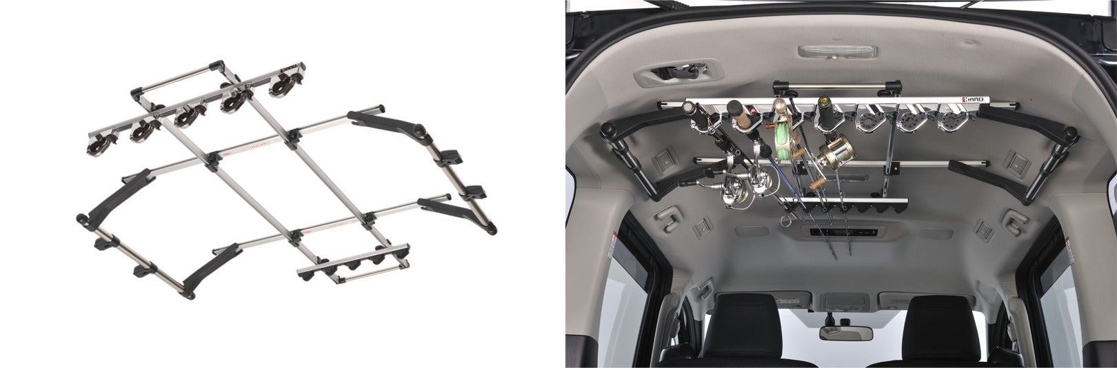 (left) product image of interior fly rod holder (right) rod holder installed in suv