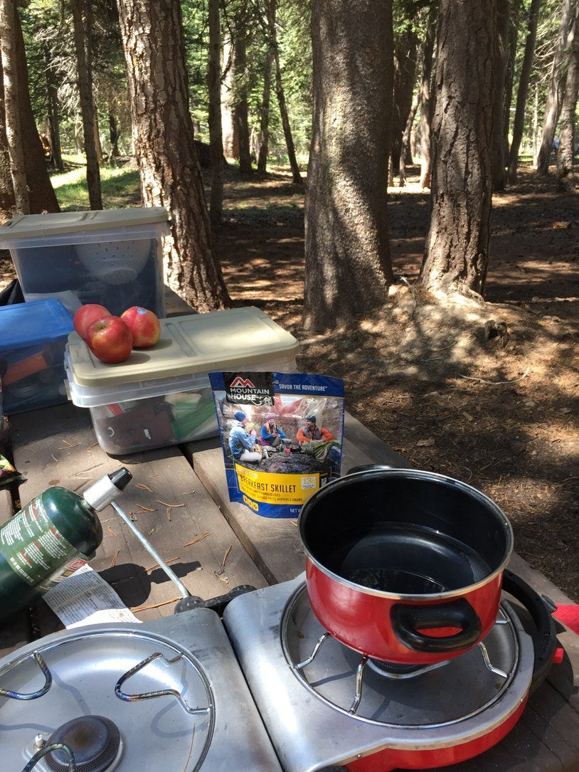 Picnic table in the woods with pot, camp stove, and food.
