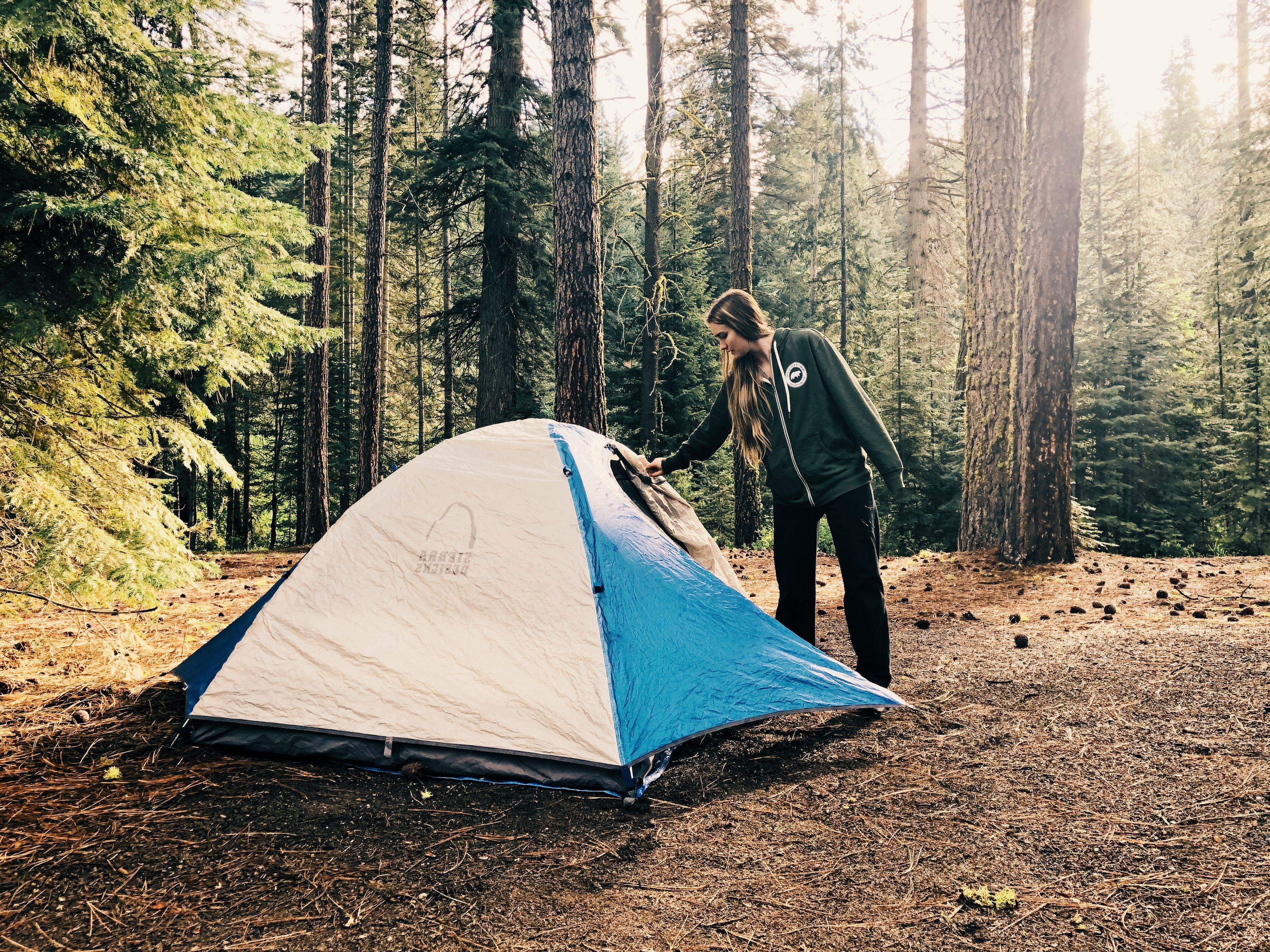 camping on a ski trip