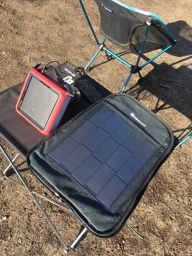 solar charger in use