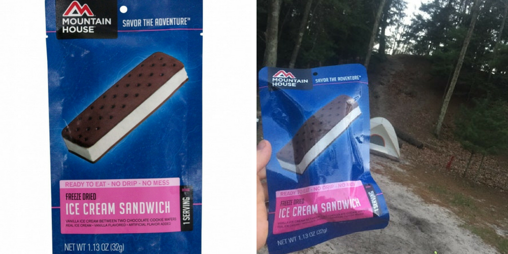 backcountry camping gear list: mountainhouse ice cream sandwich