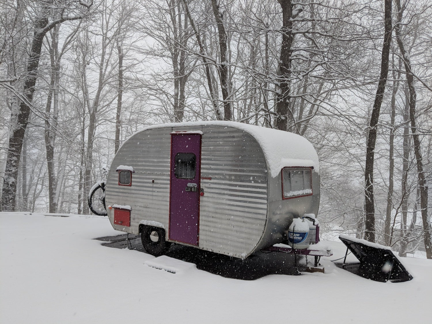 canned ham camper in the snow