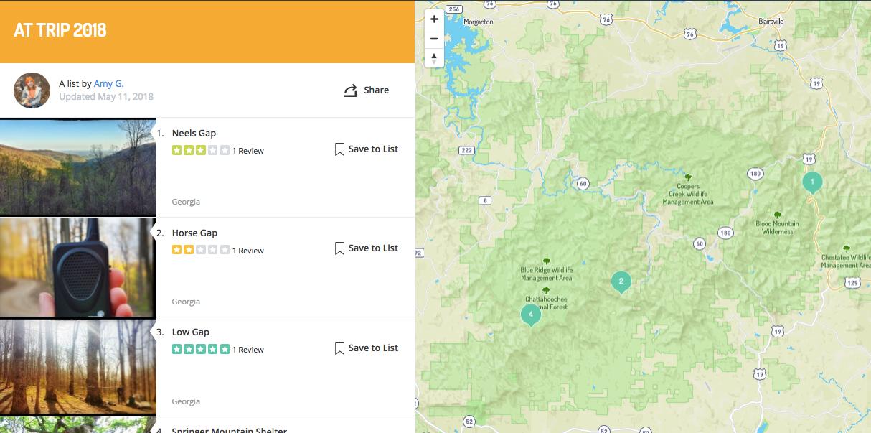 appalachian trail saved campground list