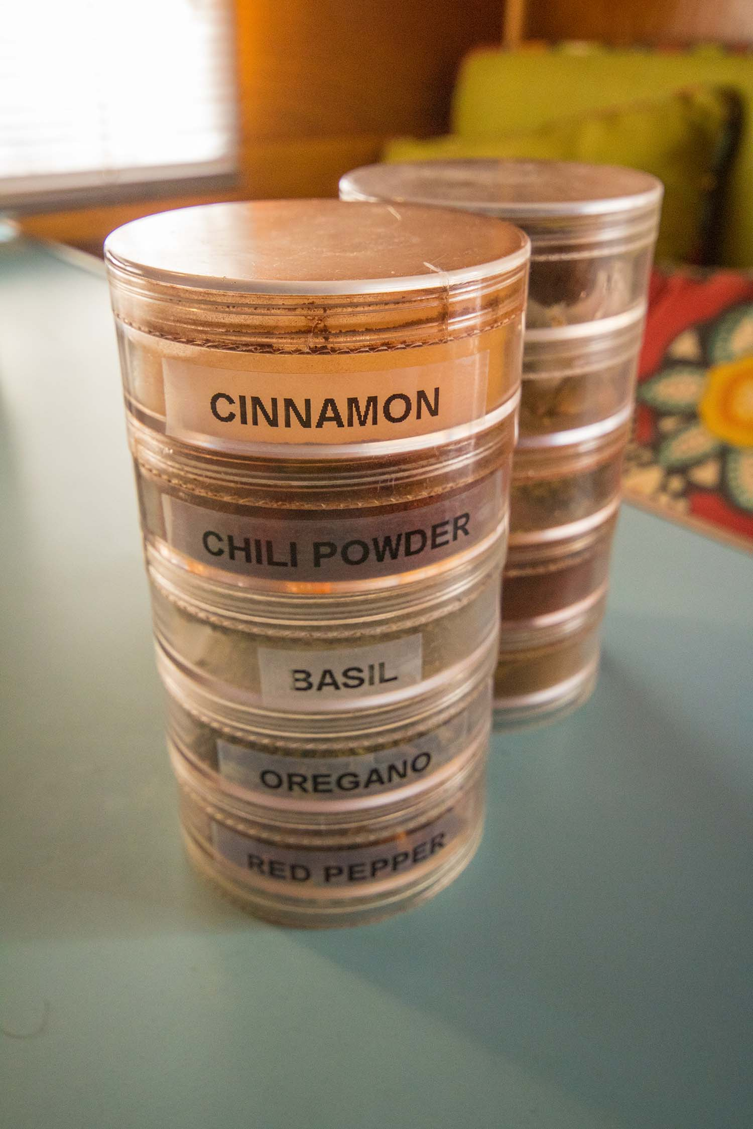 camping kitchen hacks for organized spice storage