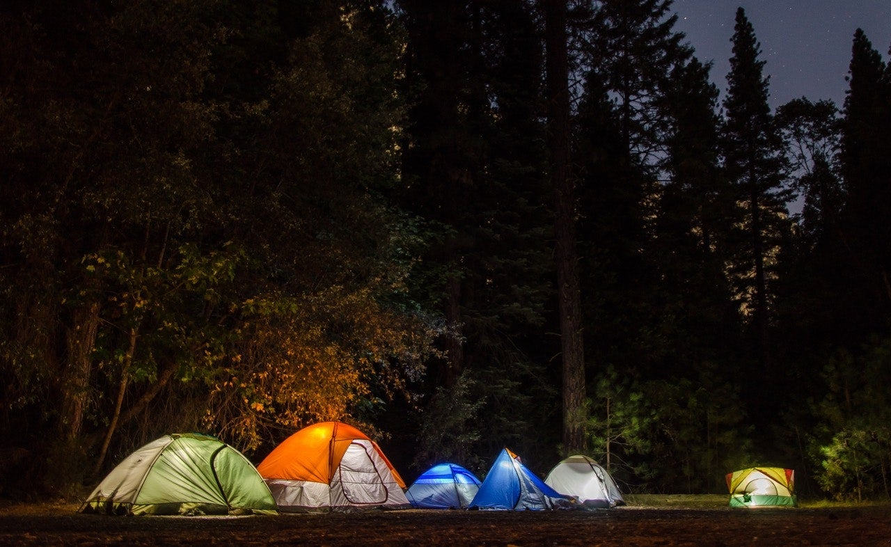 group camping trip at night