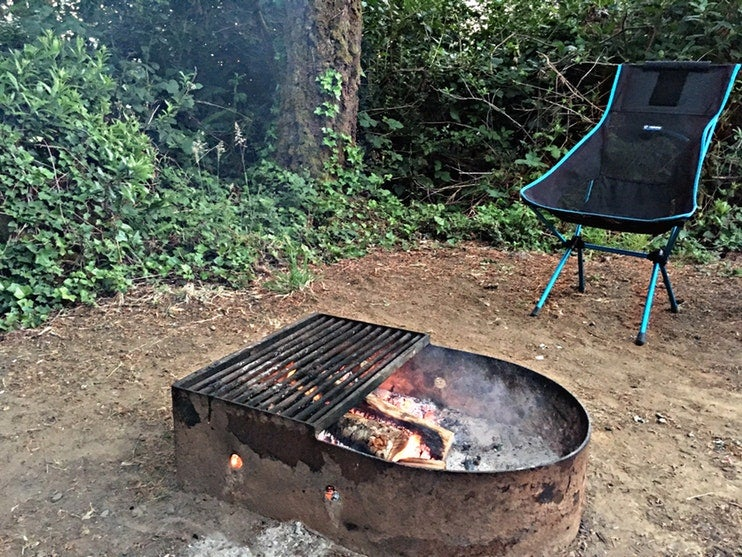 campfire ring and chair on leave no trace camping trip