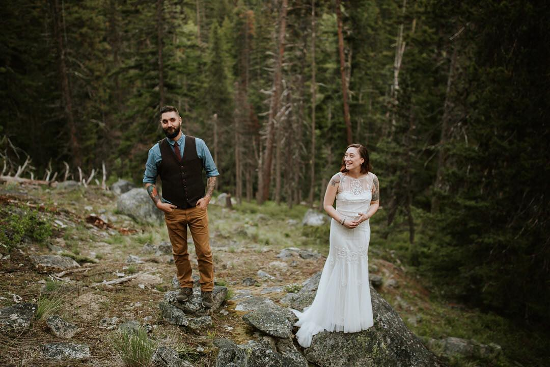 backcountry wedding photographer captures a happy couple among trees