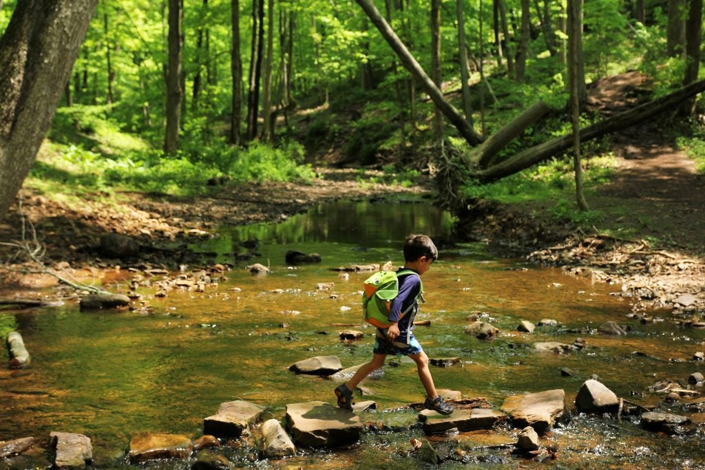 young boy crosses river rocks on foot in woods, via hike it baby