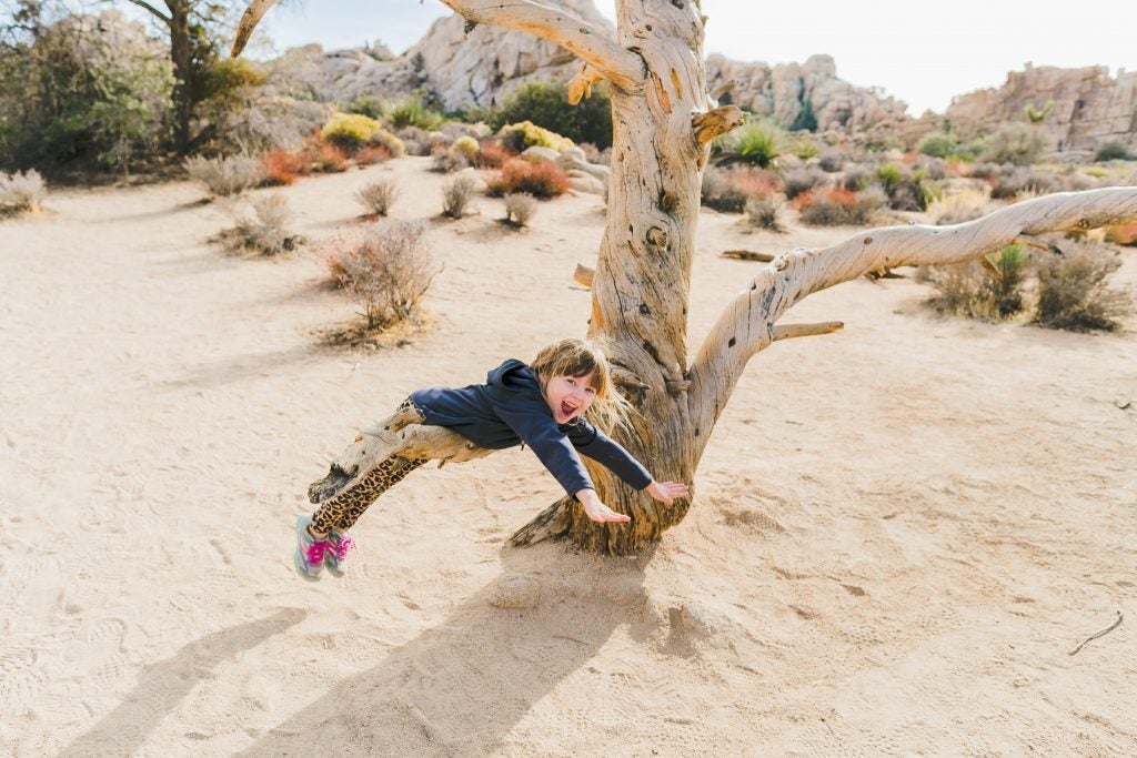 young girl balances midair on tree branch, via hike it baby