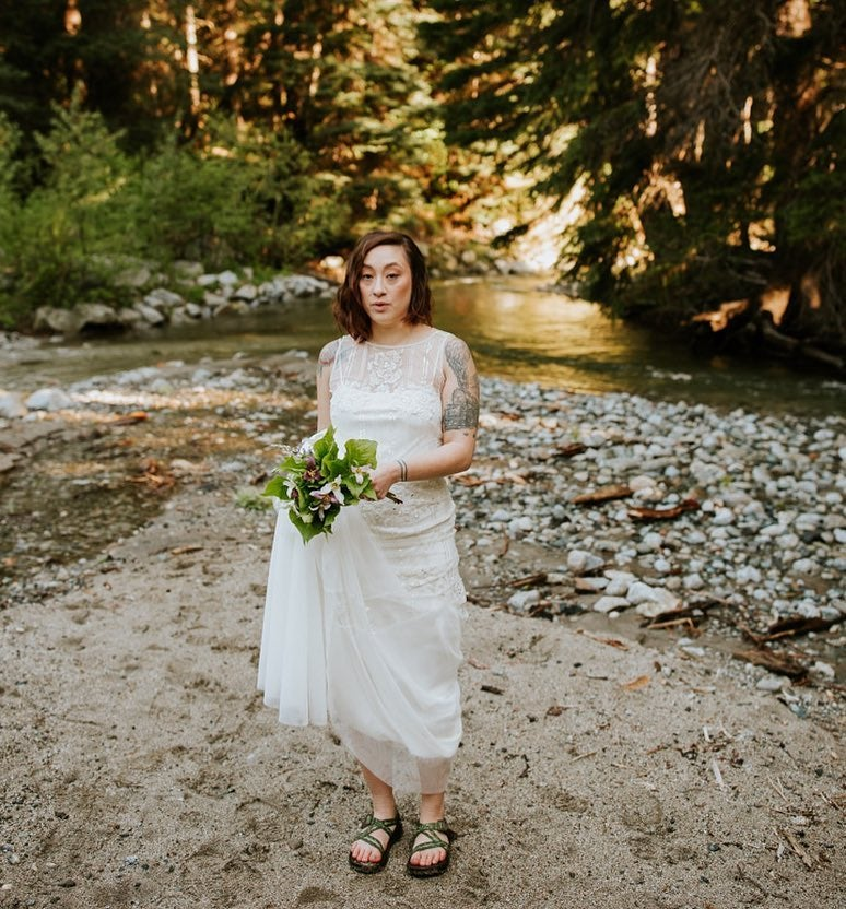 wedding photographer captures backcountry bride in chacos