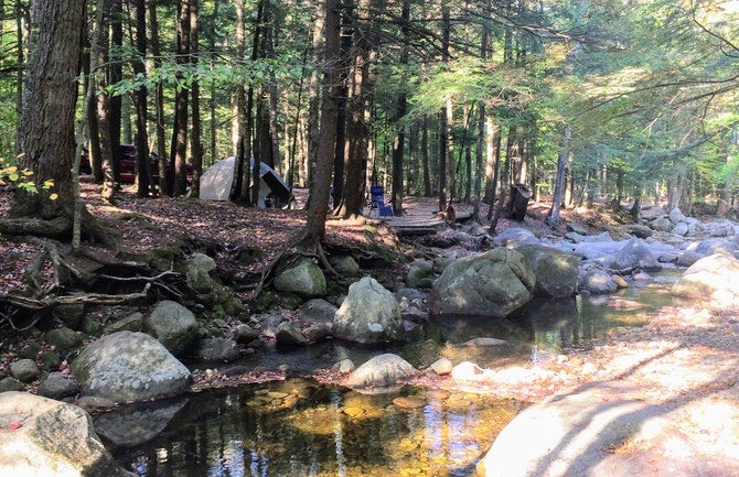 waterfront site at lost river campgrounds in new hampshire