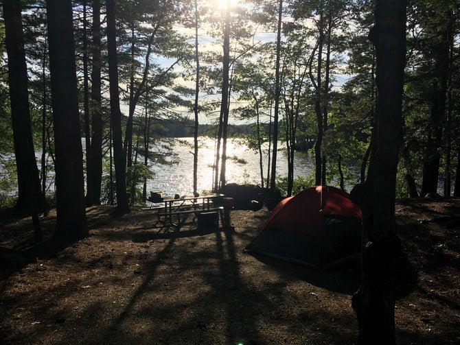 sunset at pawtuckaway campgrounds in new hampshire