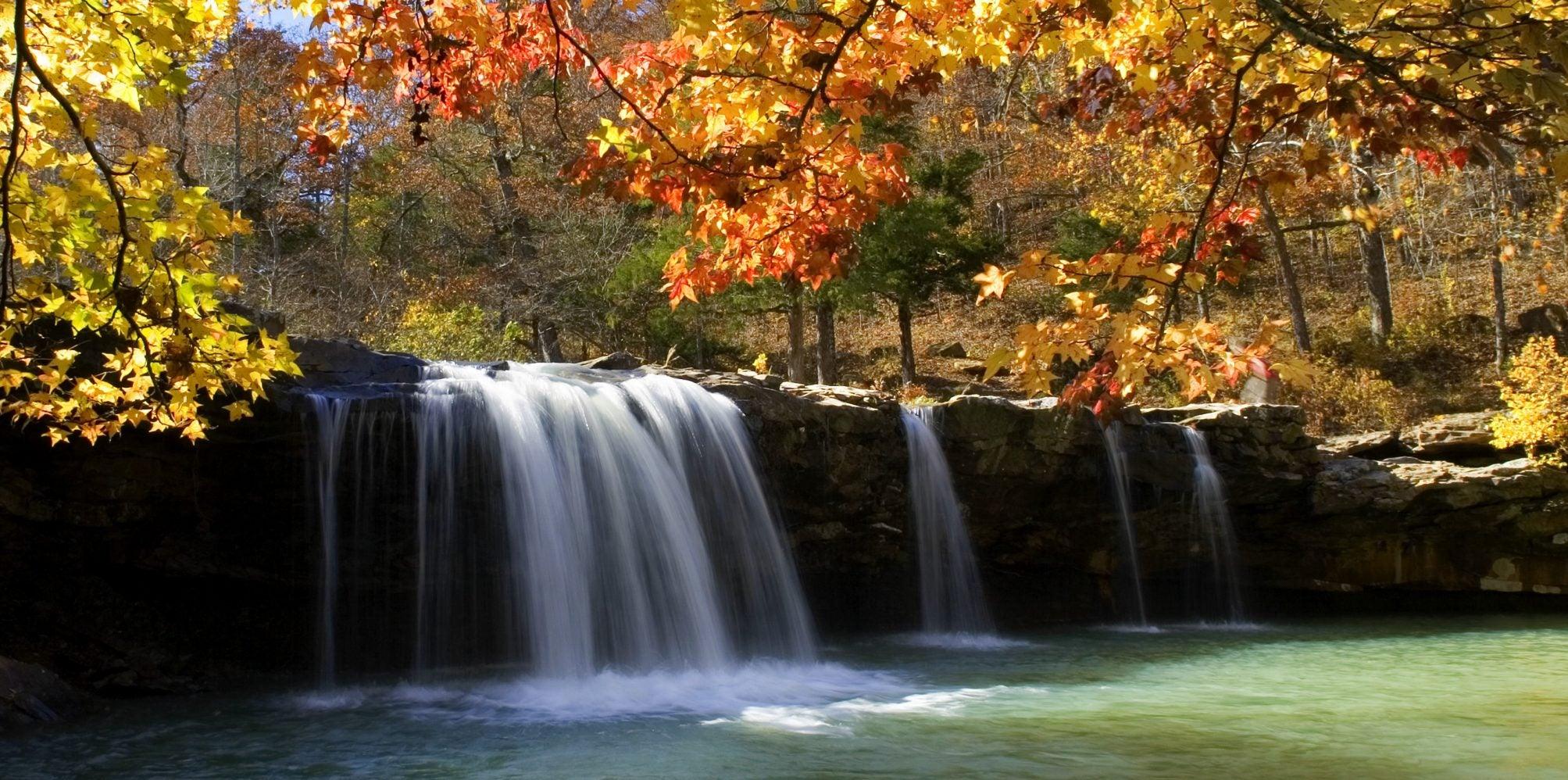 ozark national forest autumn waterfall