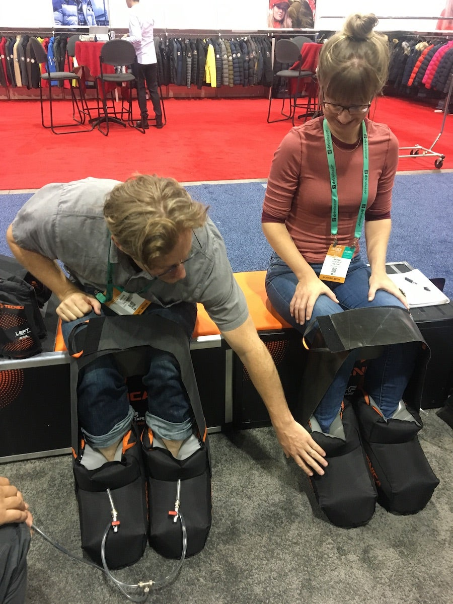 getting molded for custom boots at outdoor retailer