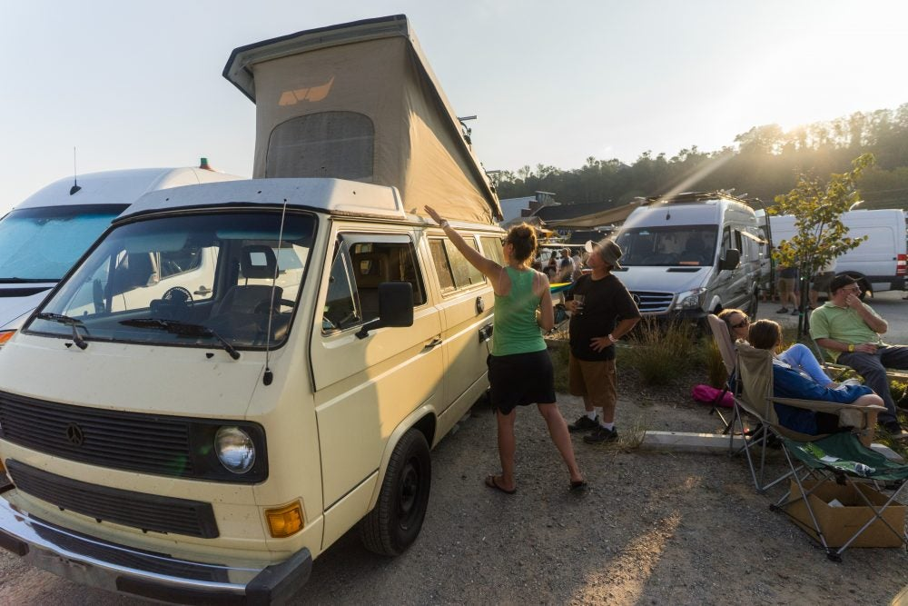 group loading into the van life gathering