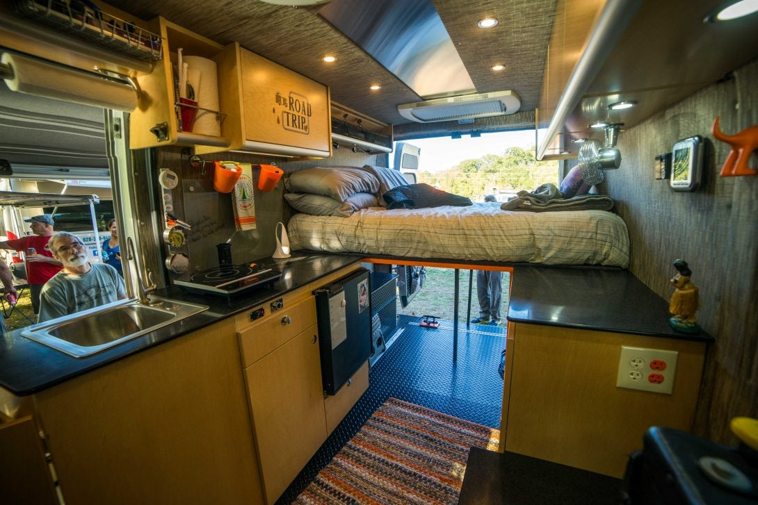 inside of van life conversion