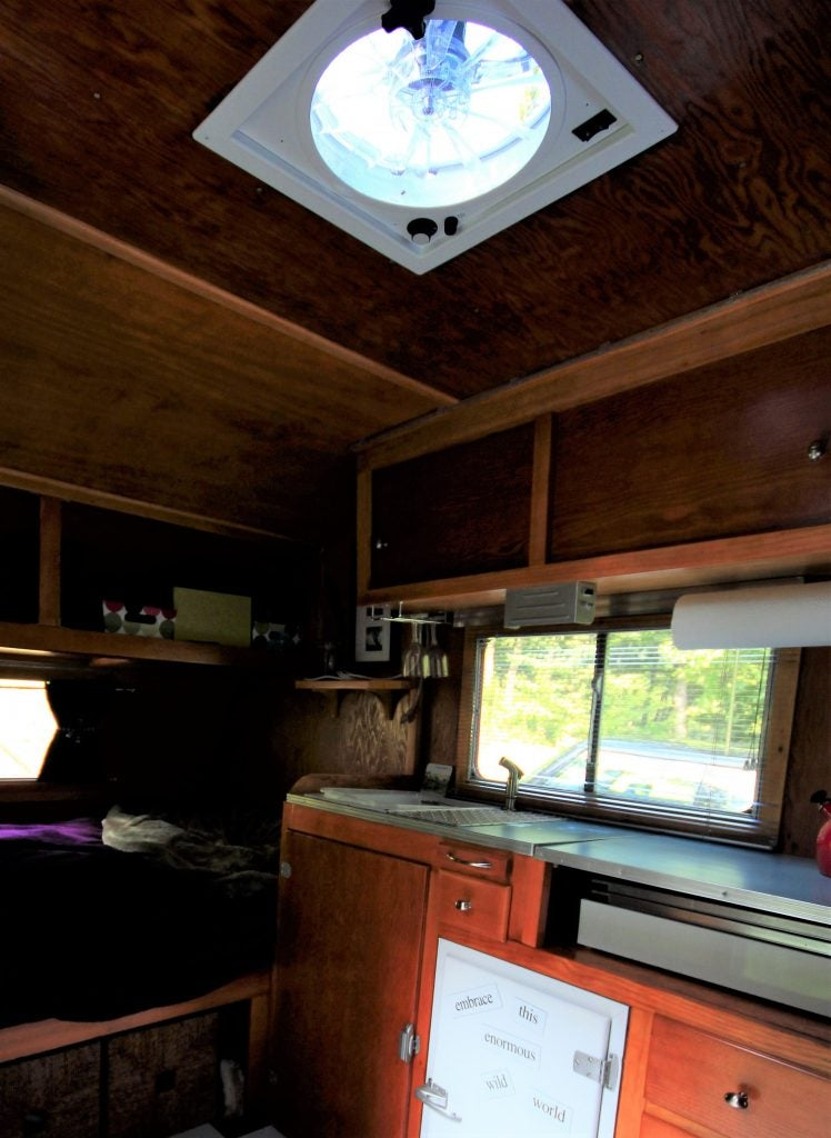 ceiling fan inside a camper trailer