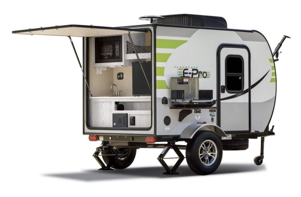 micro travel trailer setup