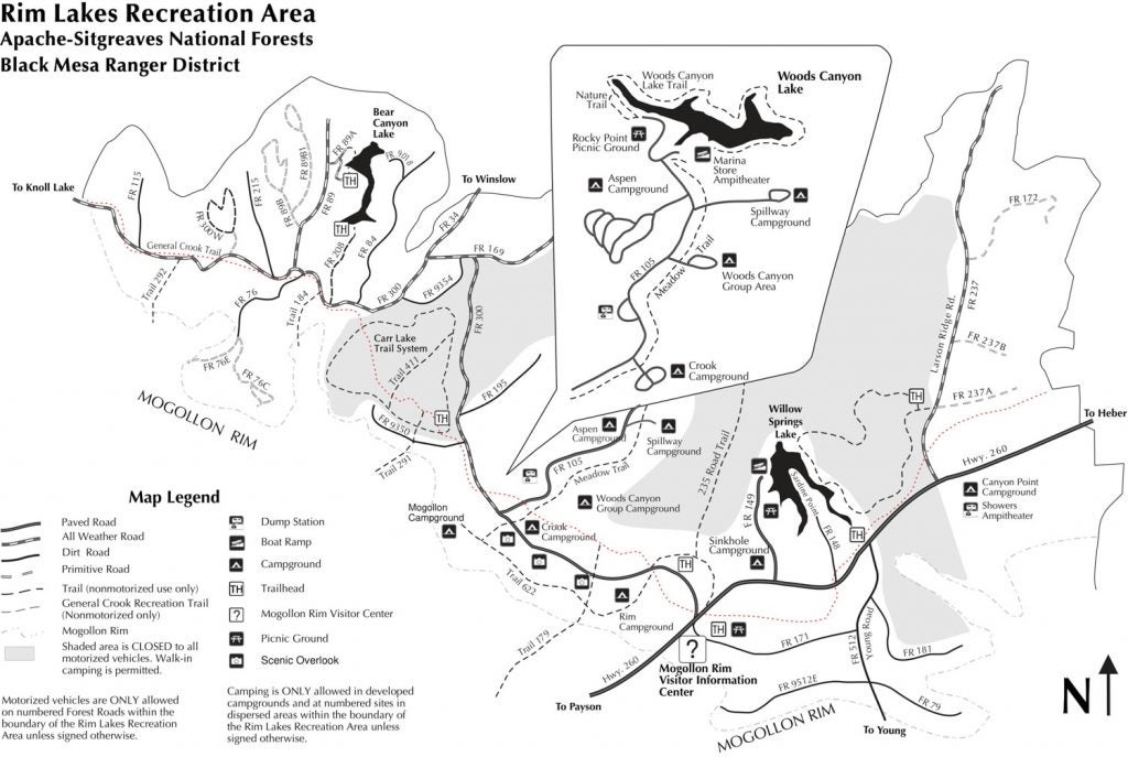 Rim Lakes Recreational Area Map
