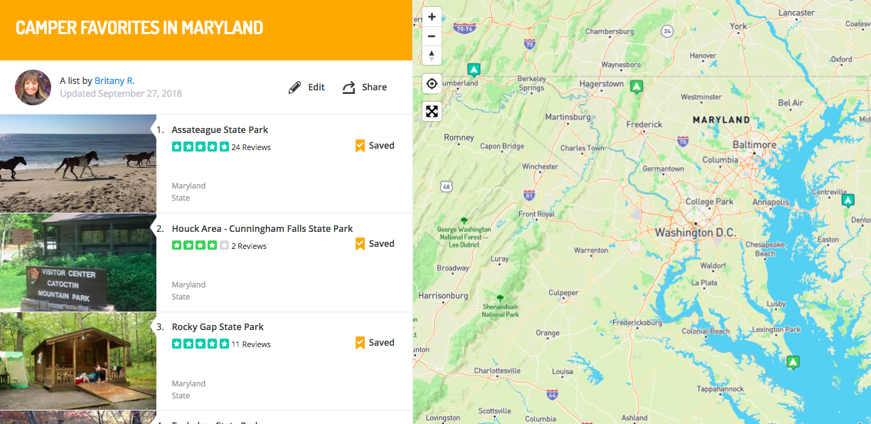 campgrounds in maryland, mapped